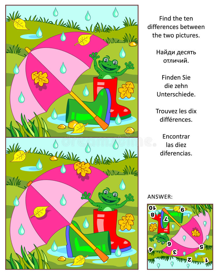 Finna det visuella pusslet för skillnader - regnig höstdag stock illustrationer