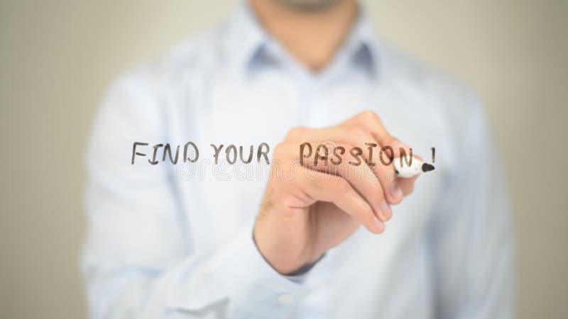 Finna din passion, manhandstil på den genomskinliga skärmen arkivfoton