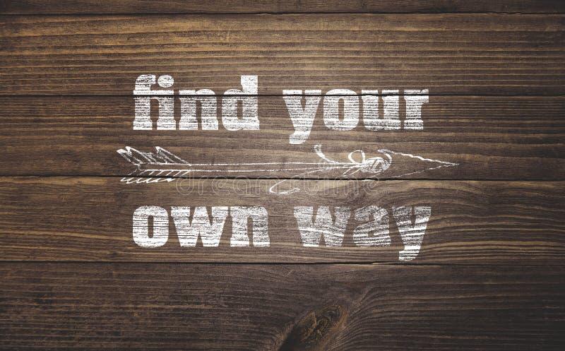 Finna din väg på trä arkivfoto