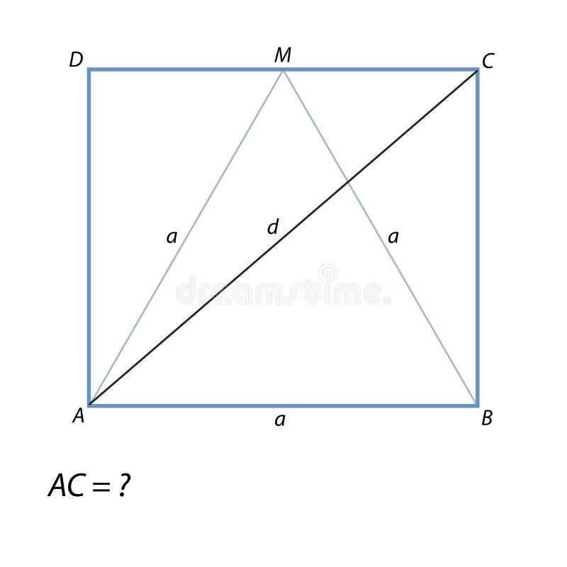 Finna en diagonal rektangel ABCD stock illustrationer