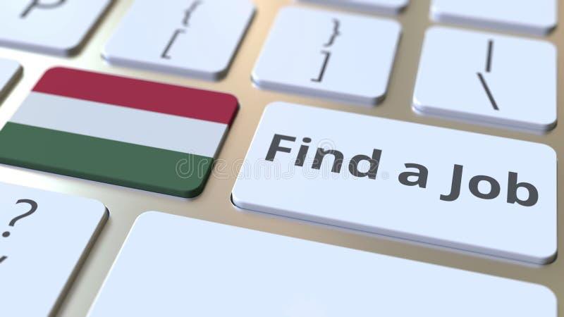 FINNA en JOBBtext och en flagga av Ungern på knapparna på datortangentbordet Anställning gällde den begreppsmässiga tolkningen 3D stock illustrationer
