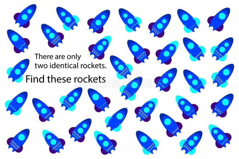 Finna endast två samma raket, rolig utbildningspussellek med transport för barn, förskole- arbetssedelaktivitet för ungar, uppgif stock illustrationer