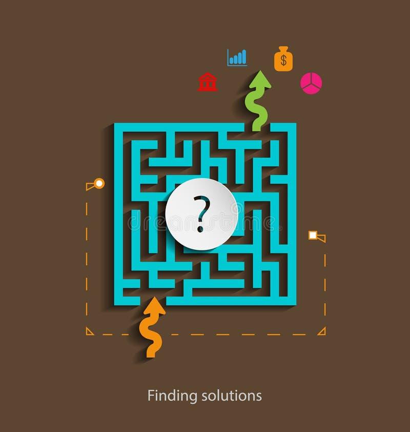 Finna för lösningar för designbegrepp framlänges mallen med symboler arkivbilder