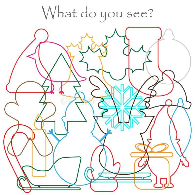Finna gömda objekt på bilden, jultemat - snögubben, hjort, tumvantet, xmas-kängan, hatten, mischmaschkonturuppsättningen, rolig u royaltyfri illustrationer