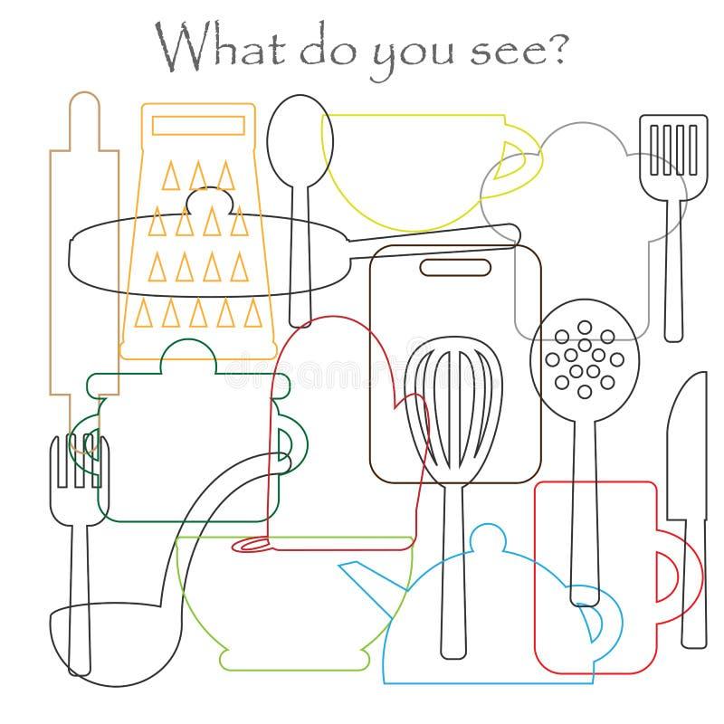 Finna gömda objekt på bilden som lagar mat tema, kökhjälpmedel, mischmaschkonturuppsättningen, den roliga utbildningsleken för un vektor illustrationer