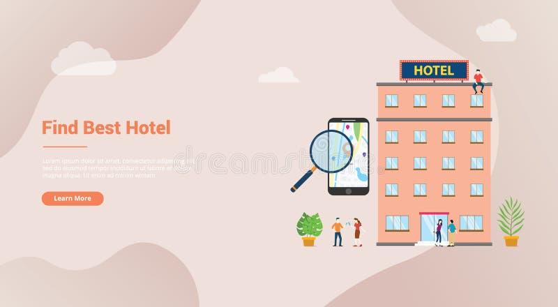Finna hotellet eller sökandehotellbegreppet för websitemallbaner eller landahomepage med modern plan stil - vektor royaltyfri illustrationer
