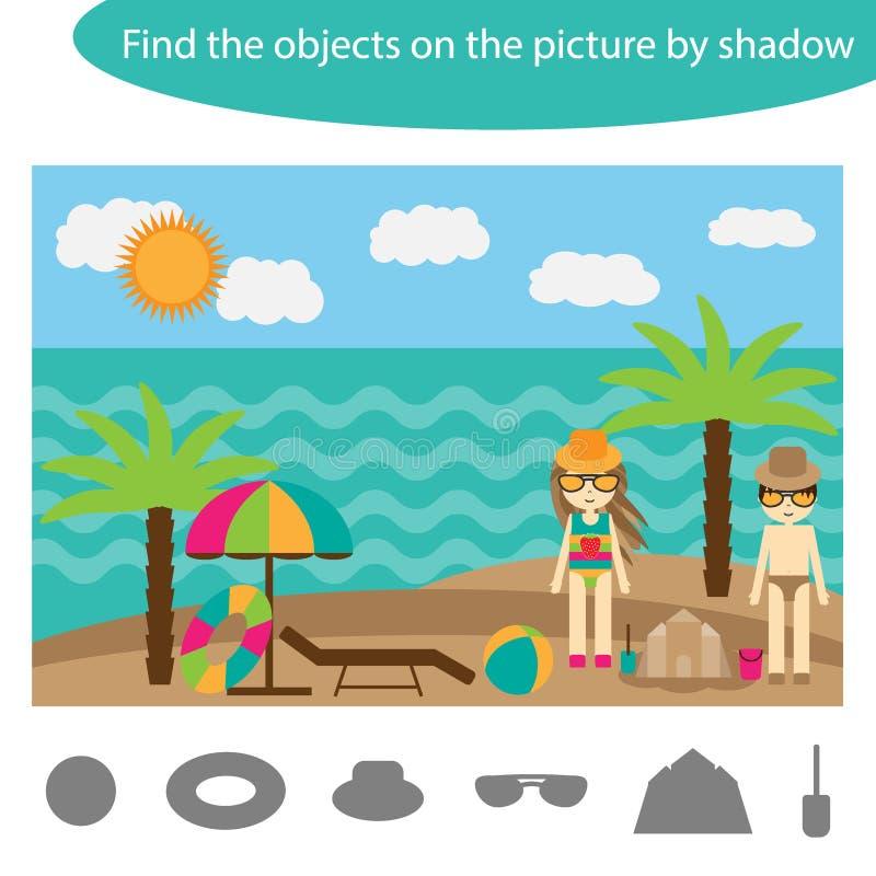 Finna objekten vid skugga, leken med sommarstranden för barn i tecknad film, utbildningsleken för ungar, förskole- arbetssedelakt vektor illustrationer