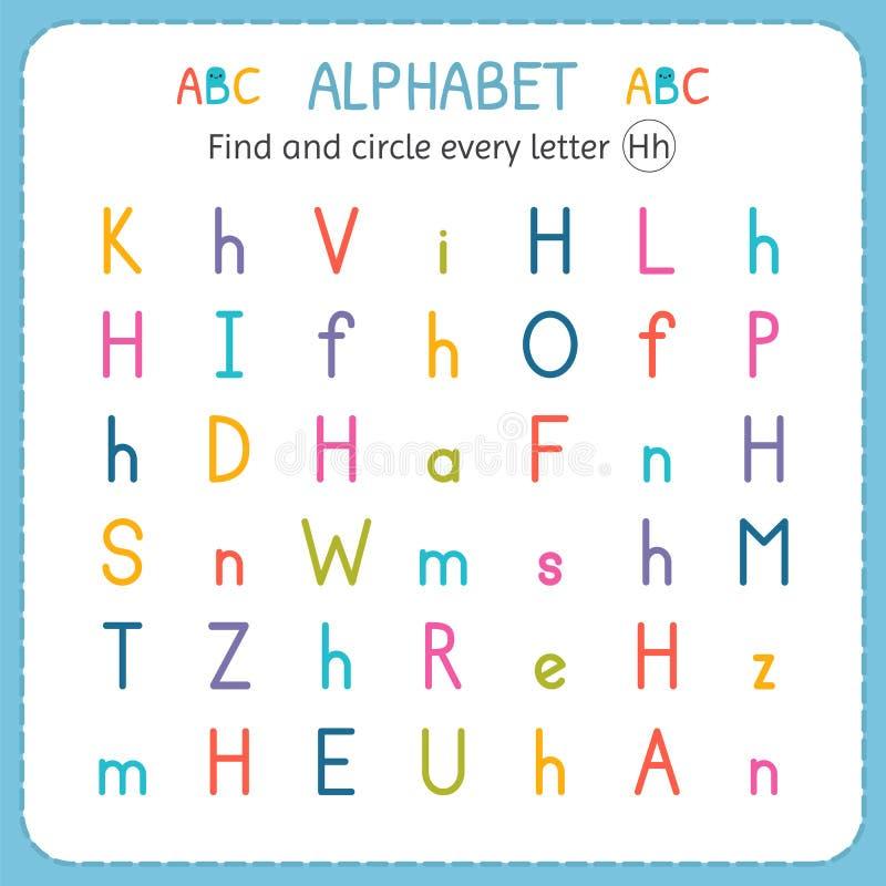 Finna och cirkla varje bokstavsH Arbetssedel för dagis och förträning Övningar för barn royaltyfri illustrationer