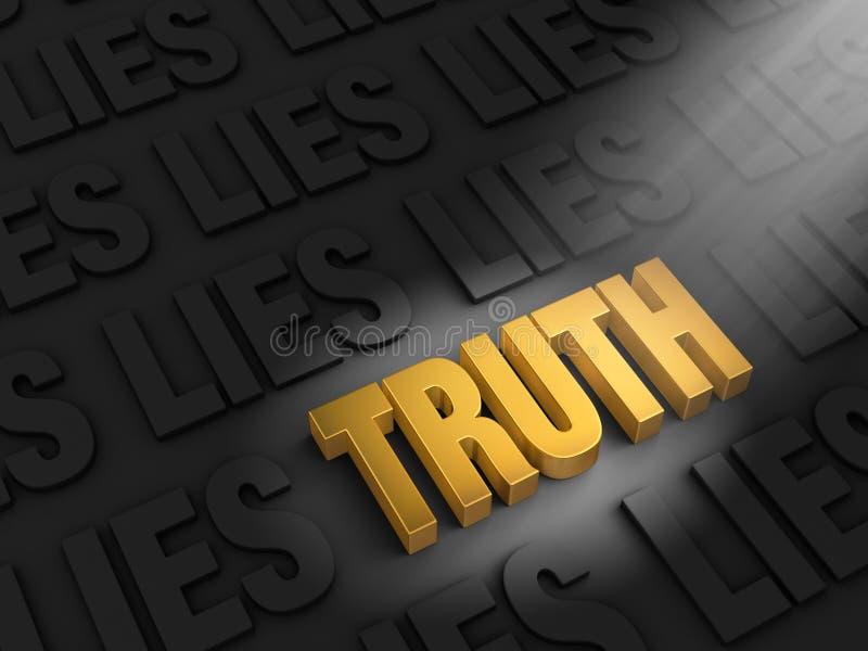 Finna sanning bland lögner stock illustrationer