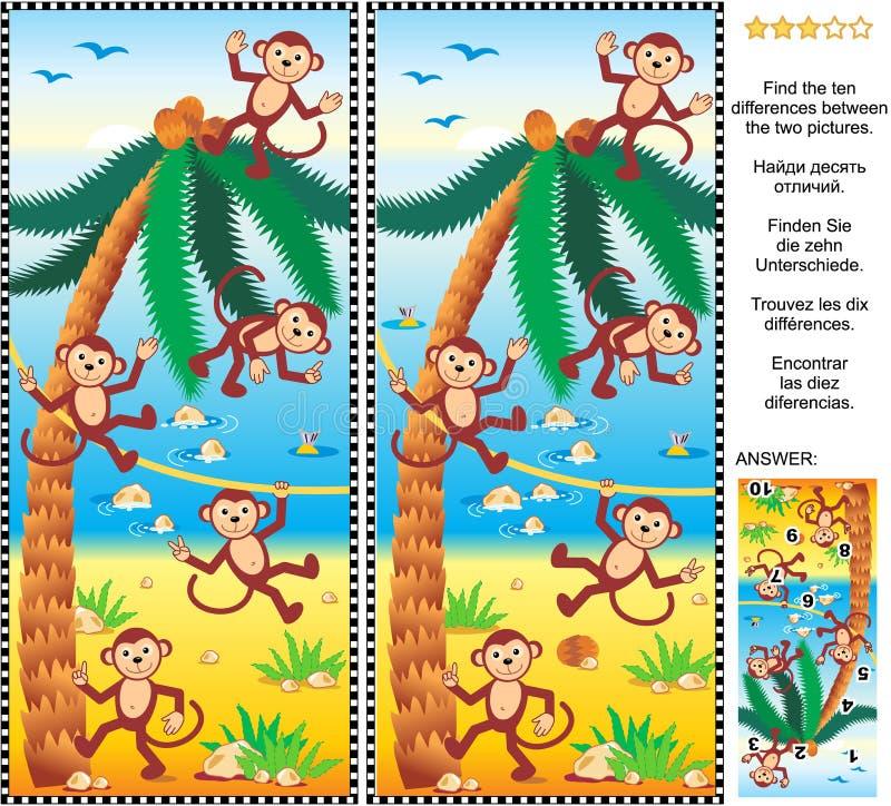 Finna skillnadbildgåtan - apor, stranden, kokosnöt gömma i handflatan stock illustrationer