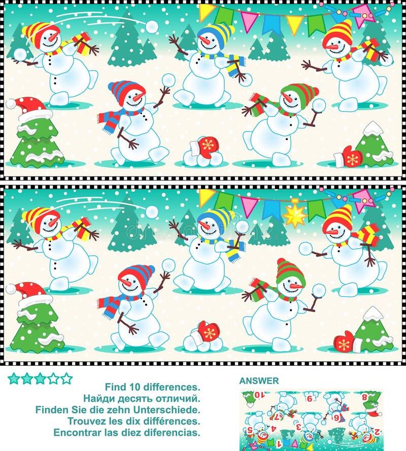 Finna skillnadbildgåtan - skämtsamma snögubbear royaltyfri illustrationer