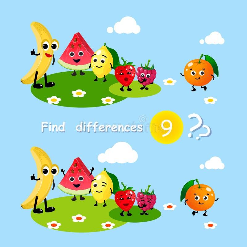 Finna skillnader Jordgubbe för citron för vattenmelon för banan för frukter för mat för tecknad film för barnaktivitetslek lyckli vektor illustrationer