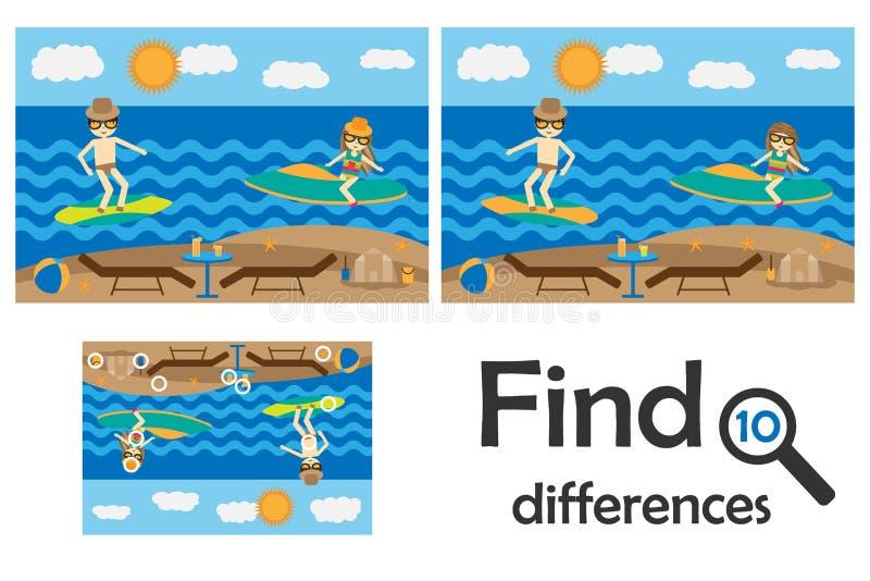 Finna 10 skillnader, spela för barn, sommarstrand med folktecknad filmstil, utbildningsleken för ungar, förskole- arbetssedel royaltyfri illustrationer