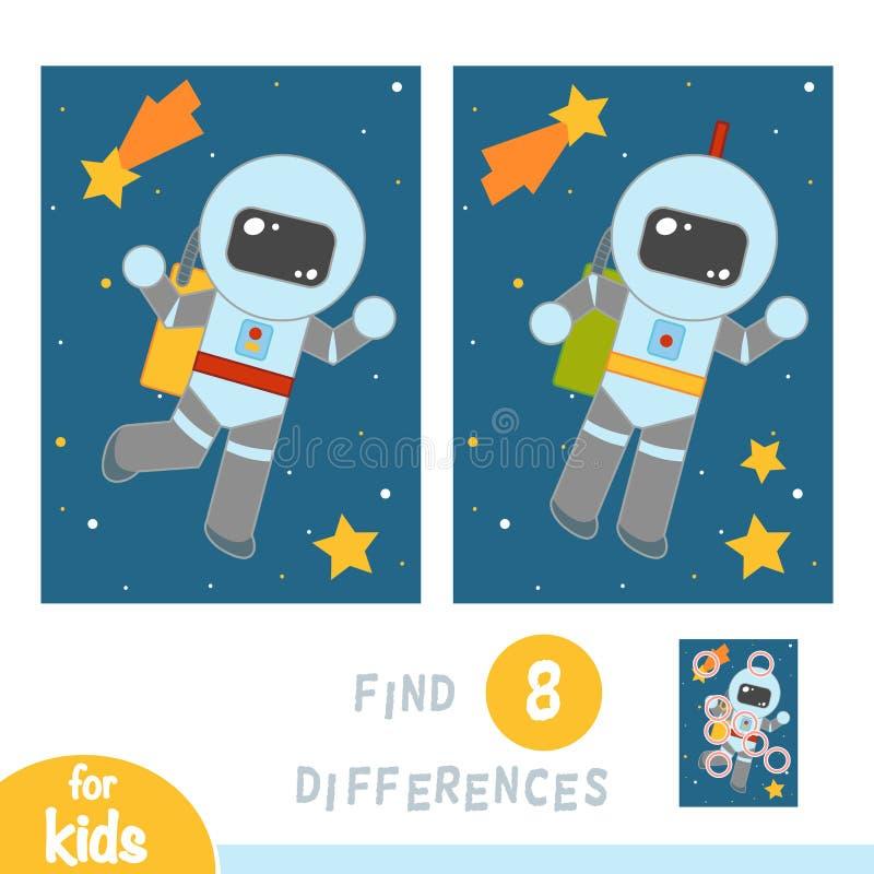 Finna skillnader, utbildningsleken, astronaut i utrymme royaltyfri illustrationer