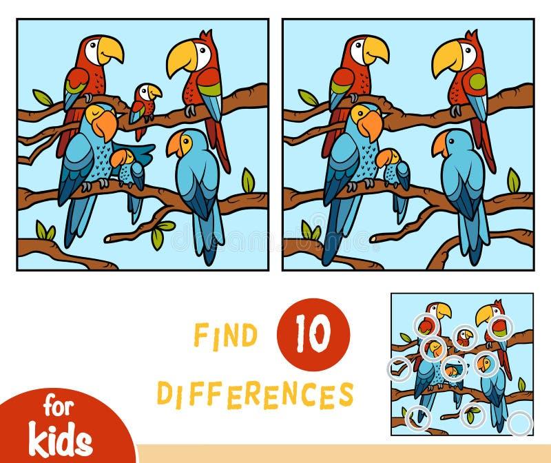 Finna skillnader, utbildningsleken för barn, papegojor vektor illustrationer