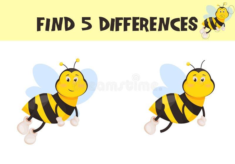 Finna skillnader, utbildningsleken för barnvektorn som är klar för tryckarbetssedelillustration royaltyfri illustrationer