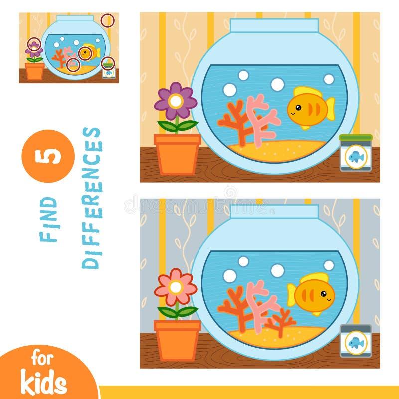 Finna skillnader, utbildningsleken, guldfisk i en bunke stock illustrationer