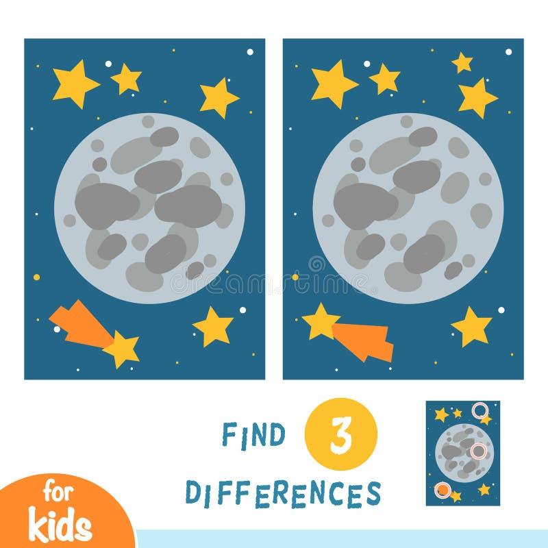 Finna skillnader, utbildningsleken, månen och stjärnor i utrymme stock illustrationer