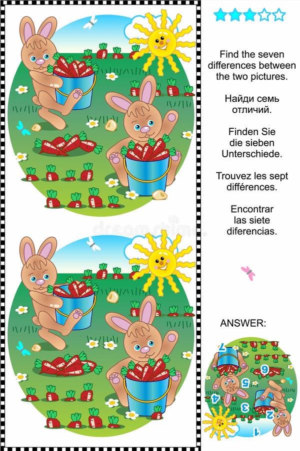 Finna skillnaderna - kaniner och morötter royaltyfri illustrationer