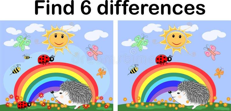 Finna skillnaderna mellan bilderna Barn \ 'bildande lek för s En igelkottkonstnär på en röjning med attraktioner för en regnbåge  stock illustrationer