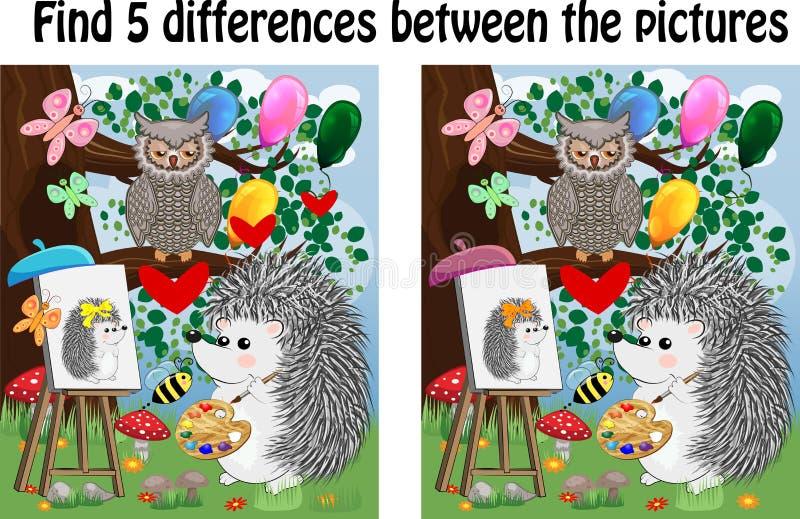 Finna skillnaderna mellan bilderna Barns bildande lek stock illustrationer