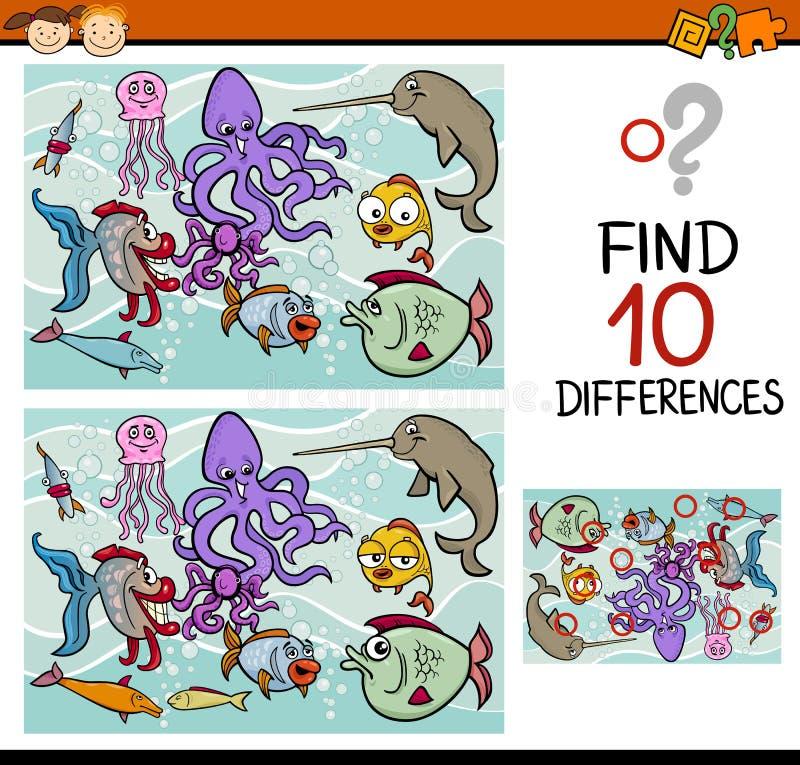 Finna spelar skillnader tecknade filmen vektor illustrationer