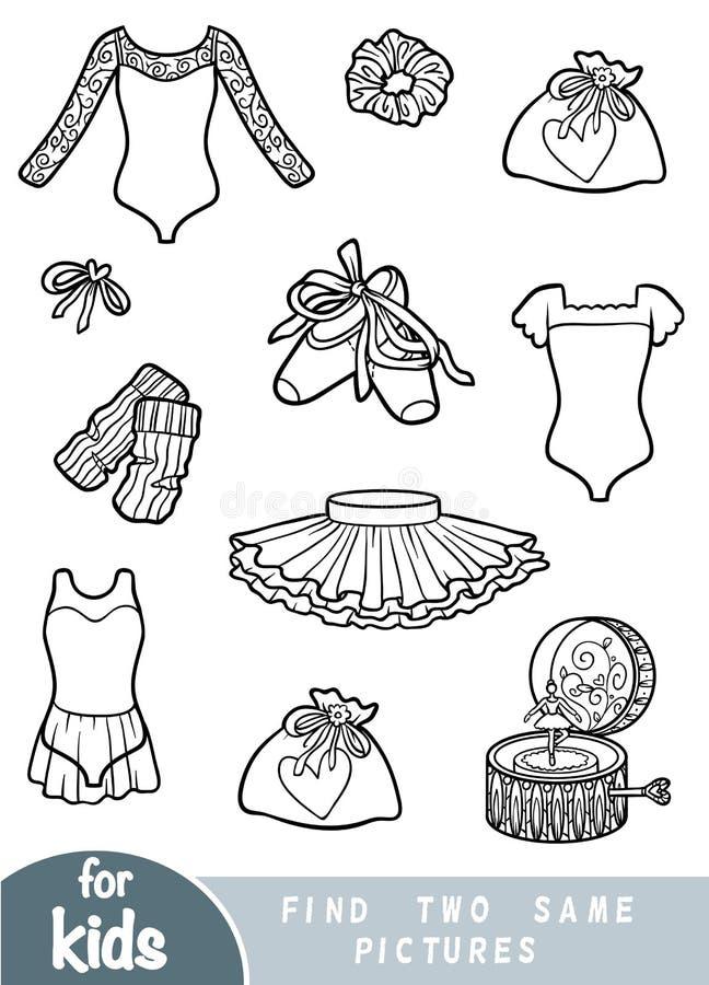 Finna två de samma bilderna, leken för barn Baletttillbehör vektor illustrationer