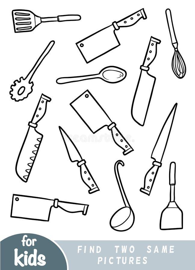 Finna två de samma bilderna, leken för barn set utensils för kök stock illustrationer
