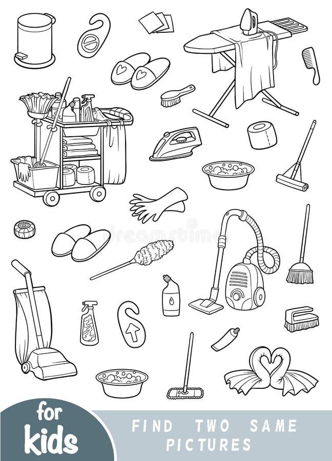 Finna två de samma bilderna, leken för barn Uppsättning av objekt för att göra ren och hushållning stock illustrationer