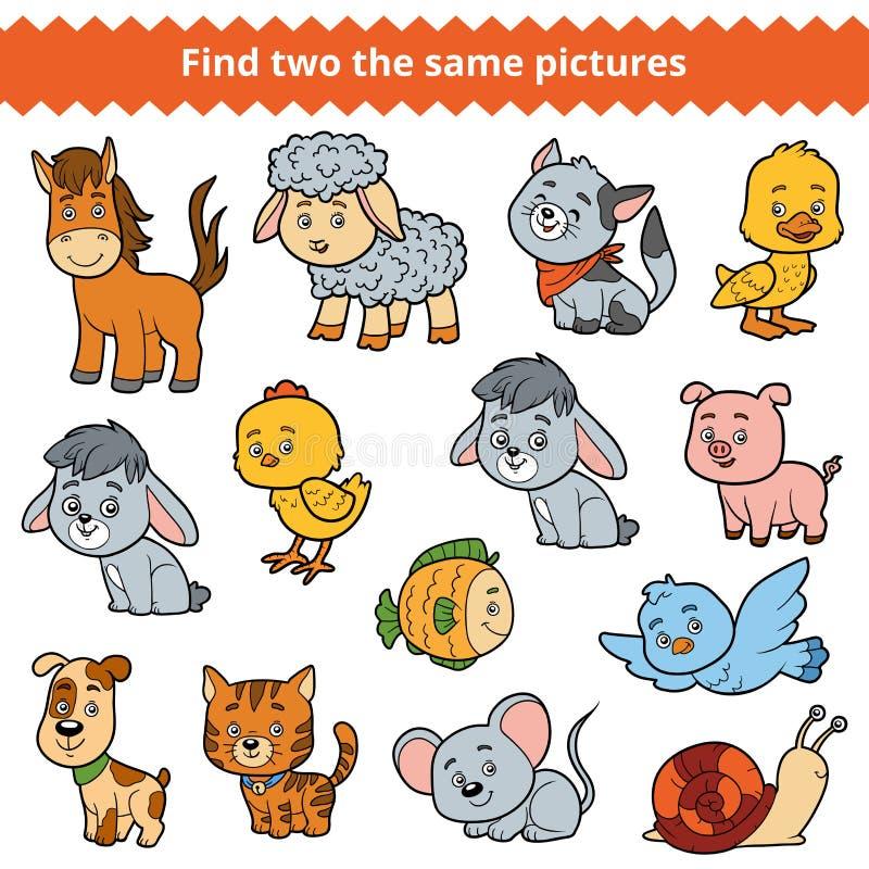 Finna två de samma bilderna, vektoruppsättning av lantgårddjur vektor illustrationer