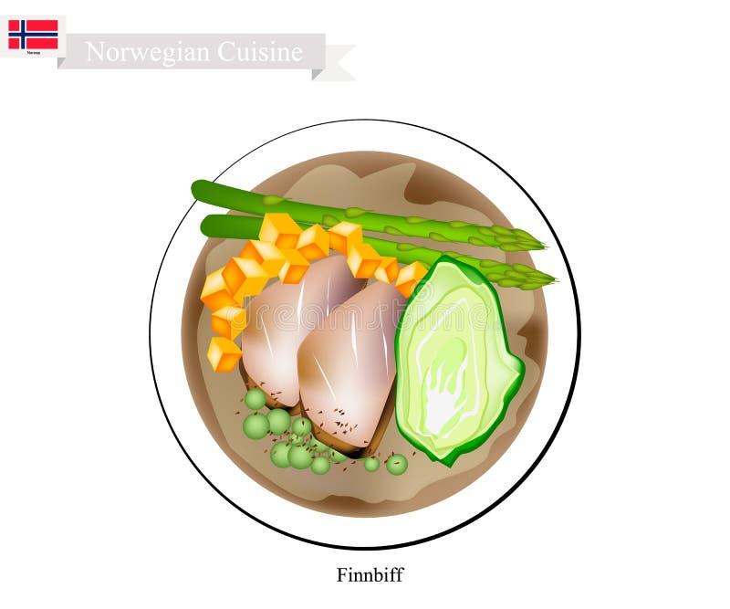 Finnbiff ou renne sauté, plat populaire de la Norvège illustration de vecteur
