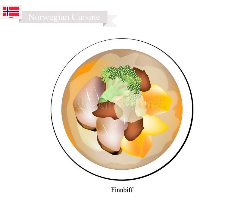 Finnbiff ou renne sauté, plat populaire de la Norvège illustration stock