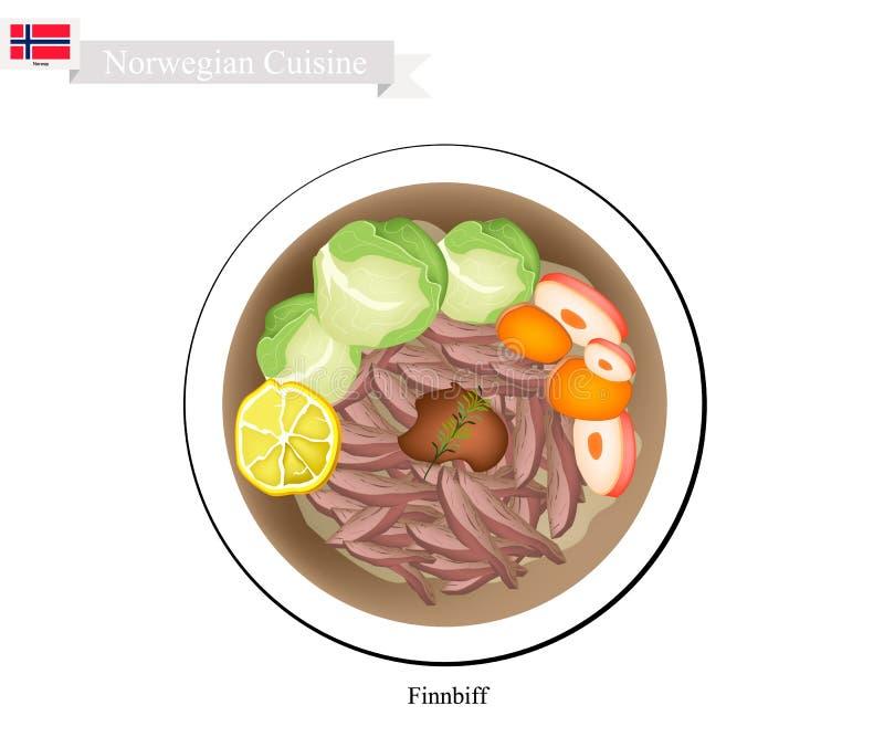 Finnbiff ou renne sauté, plat populaire de la Norvège illustration libre de droits