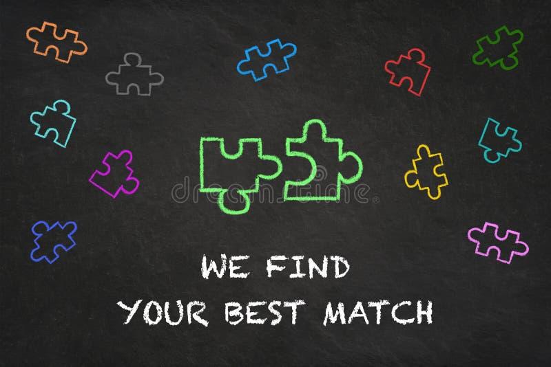 'Finner vi dina bästa matchers text med pusselstycken på en svart tavla vektor illustrationer