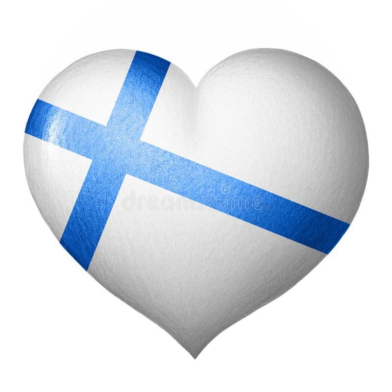 Finnisches Flaggenherz lokalisiert auf weißem Hintergrund Zeichnung des Baums auf einem weißen Hintergrund stockbild