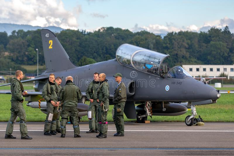 Finnish Air Force British Aerospace Hawk Mk 51 jet trainer aircraft from the Midnight Hawks display team. Payerne, Switzerland - September 1, 2014: Finnish Air royalty free stock photography