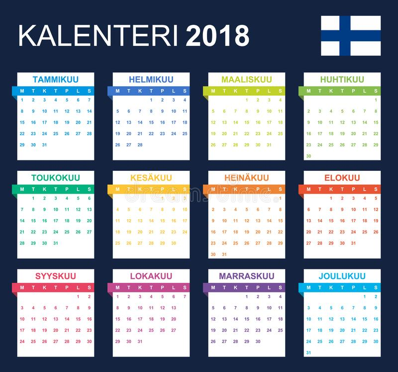Finnish Calendar for 2018. Scheduler, agenda or diary template. Week starts on Monday.  vector illustration