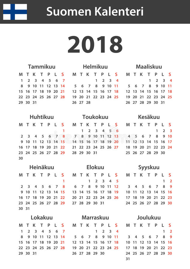 Finnish Calendar for 2018. Scheduler, agenda or diary template. Week starts on Monday.  stock illustration