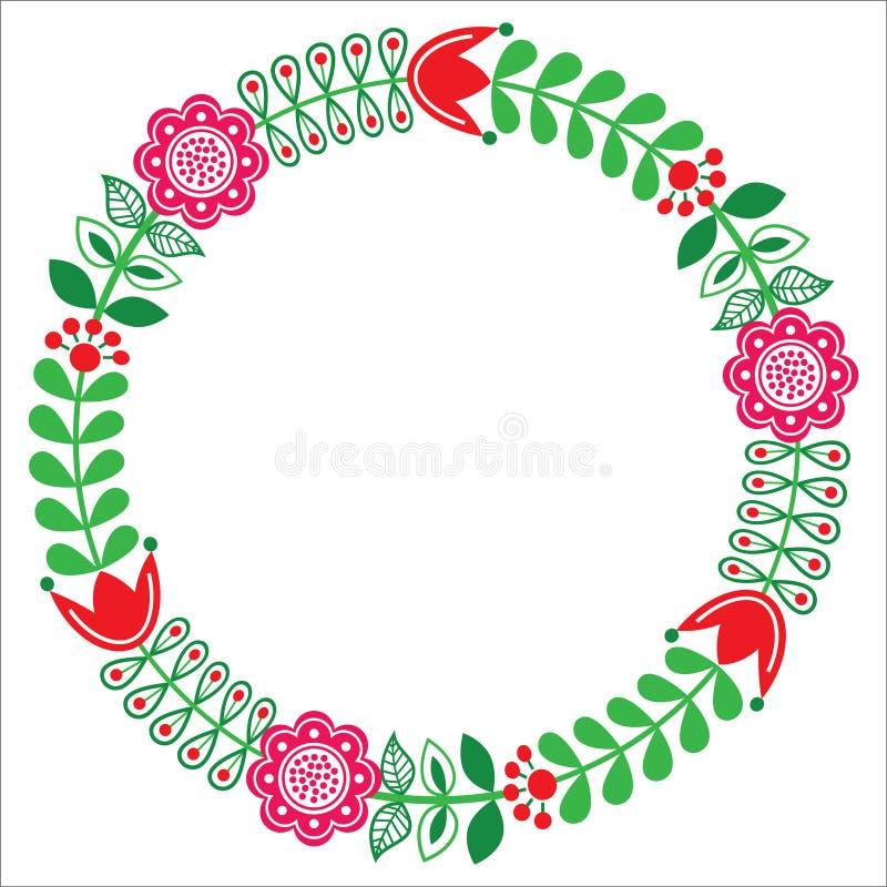 Finnish floral folk art round pattern - Nordic, Scandinavian style. Floral greetings card - Nordic, Scandinavian inspired design stock illustration