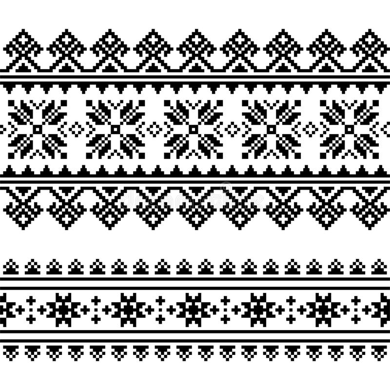 Finnish-folk-art-pattern-3-black. Ethnic seamless background, rustic design inspired by retro patterns from Ukraine royalty free illustration