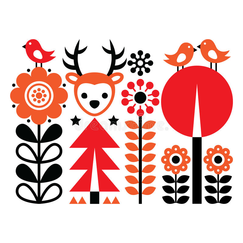 Finnish inspired folk art pattern - Scandinavian, Nordic style with flowers and animals. Floral cute designs - Nordic, Scandinavian flower background stock illustration