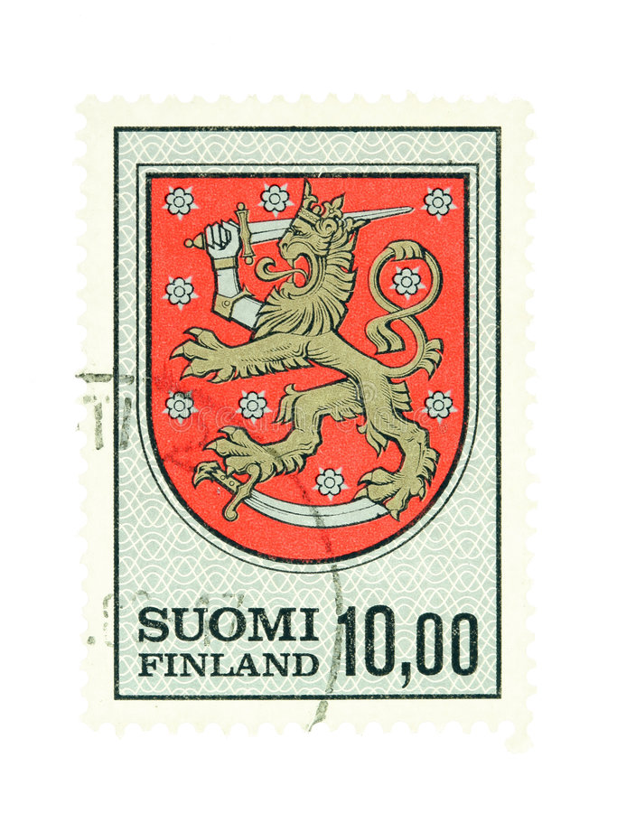 Finnish national emblem. Collectible old stamp from Finland. Stamp with Finnish national emblem stock photos