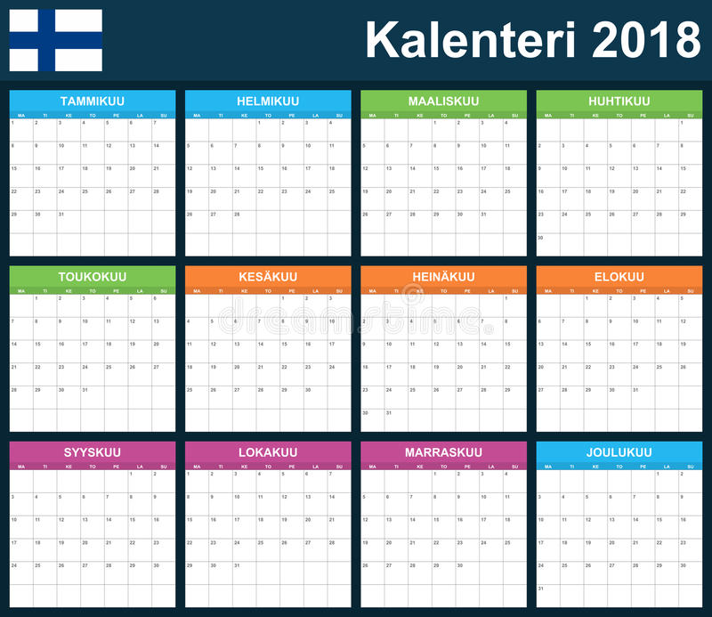 Finnish Planner blank for 2018. Scheduler, agenda or diary template. Week starts on Monday.  stock illustration
