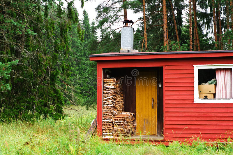 Finnish sauna with wood royalty free stock photo