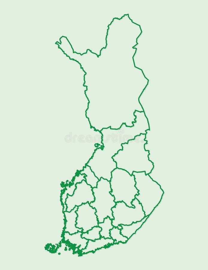 Finnland-Karte mit verschiedenen Regionen unter Verwendung der Grünen Grenzen auf hellem Hintergrundvektor lizenzfreie abbildung