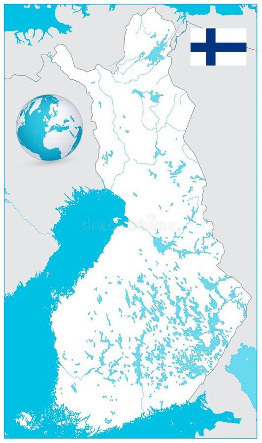 Finnland-Karten-Weiß-Farbe KEIN Text stock abbildung