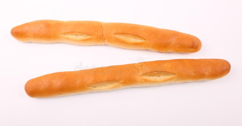French Loaves. Fino bread on white background stock photography