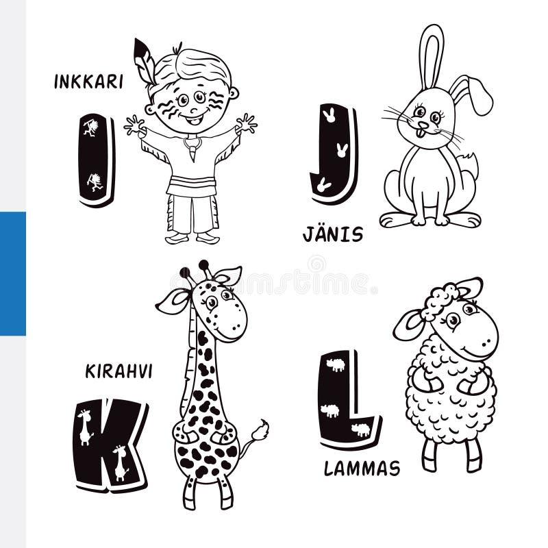 Fins alfabet Inheemse Amerikaan, Konijn, Giraf, Schapen Vectorbrieven en karakters royalty-vrije illustratie