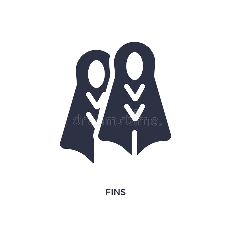 fins icon on white background. Simple element illustration from summer concept stock illustration