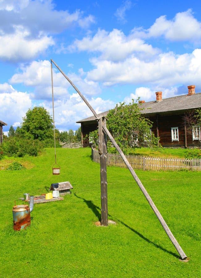 Fins landbouwbedrijf met bereik goed (tekening goed) royalty-vrije stock foto